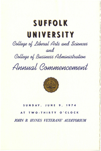 1974 Suffolk University College of Arts and Sciences and College of Business Administration Annual Commencement Program