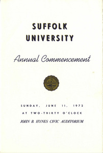 1972 Suffolk University Annual Commencement Program