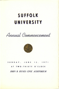 1971 Suffolk University Annual Commencement Program