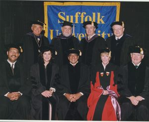 Trustees and honorary degree recipients at Suffolk University's 1998 commencement