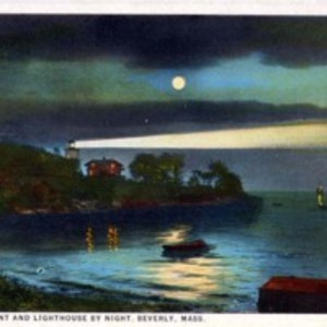 Hospital Point and lighthouse by night, Beverly, Mass.