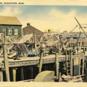 Drying fish nets, Gloucester, Mass.