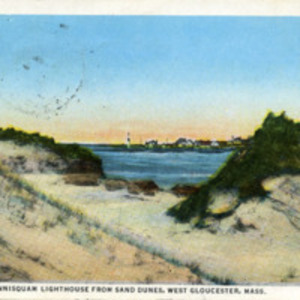 Glimpse of Annisquam Lighthouse from sand dunes, West Gloucester, Mass.