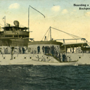 Boarding a warship at Rockport, Mass.