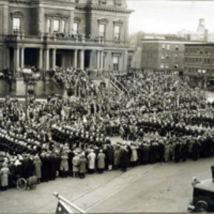 Sailors marching by City Hall, Armistice Day parade, Nov. 12, 1928