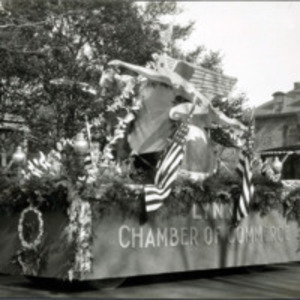 Chamber of Commerce float, Armistice Day parade, Nov. 11, 1928