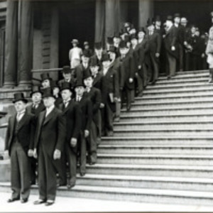 Congressman Connery's funeral: dignitaries leaving City Hall, Lynn for Connery funeral, June 21, 1937