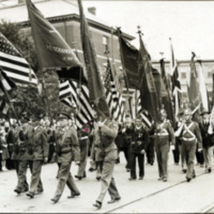 Congressman Connery's funeral: massed flags arriving at St. Mary's Church for funeral for William P. Connery, June 21, 1937