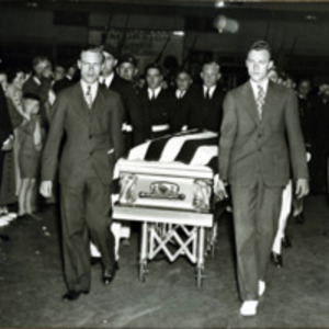 Congressman Connery's body at station, escorted by guard of honor Y.D. veterans of Lynn, June 17, 1937