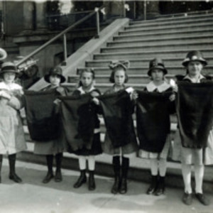 Six Whiting Grammar School girls with knitted sweaters