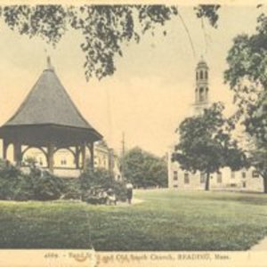 Bandstand and Old South Church, Reading, MA