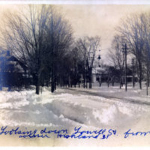 [Looking down Lowell Street from corner of Highland Avenue]