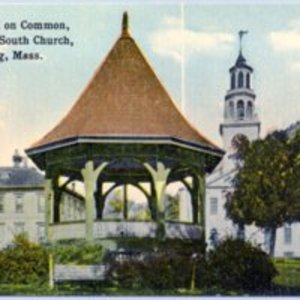 Band stand on Common showing Old South Church, Reading, MA