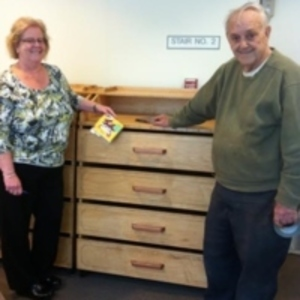 Mr. Carmine Moschella built CD cabinets for Saugus Public Library