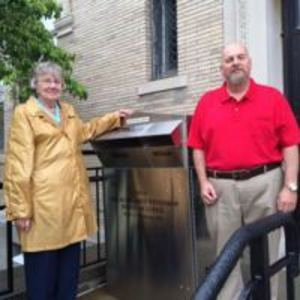 The Margaret Winthrop Rebekah Lodge #153 donated funds for the new exterior book drop for the library