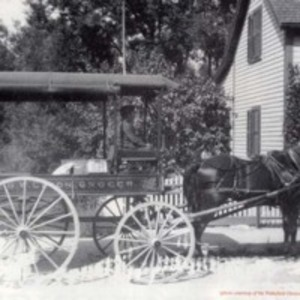 G.W. Eaton, grocer delivery wagon, circa 1900