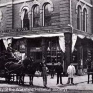 Open and covered delivery wagons, Cutler Brothers, Main and Lincoln Streets, 1885
