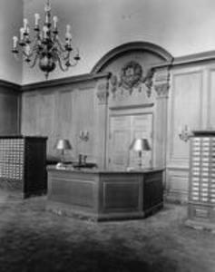 Circulation desk in the Stetson Library lobby