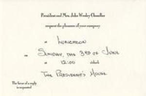 Invitation to President Chandler's Commencement Luncheon, 1984