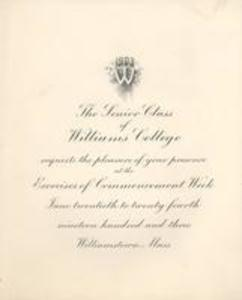 Invitation to Williams College Commencement week exercises, 1903