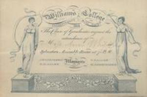 Invitation to the Williams College Commencement ball, 1823
