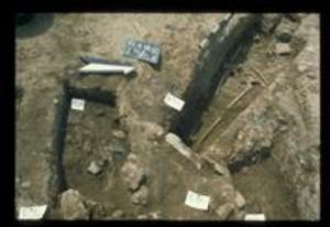 Skeletal remains at trench 25, 1980