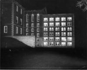 The 1956 Stetson Library addition at night
