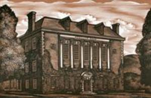 Wood engraving of Stetson Hall used as a postcard