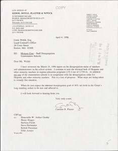 [Letter from Caroline B Playter to Linda Walsh Esq. re: lack of Hispanic and other Minority Teachers]