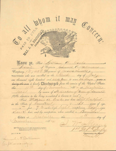 Discharge from the service of the United States, 1864 November 11