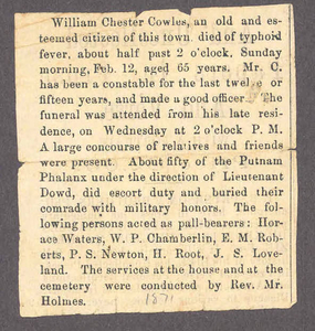 Obituary for William Chester Cowles, 1871