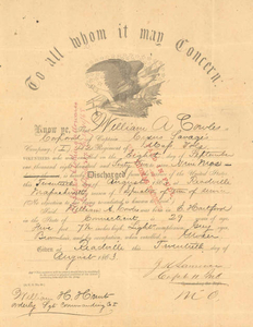 Discharge from the service of the United States, 1863 August 20