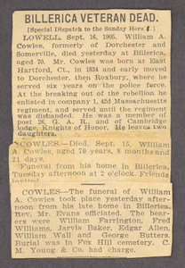 Obituaries for William A. Cowles from various publications, 1905 September 16