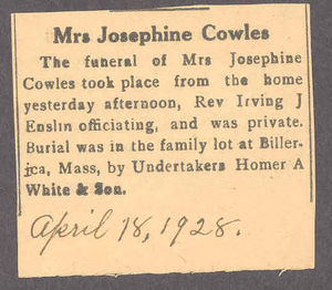 Obituary for Josephine Cowles, 1928 April 18
