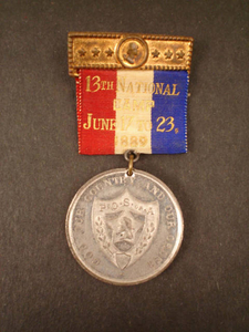 Medal from the 13th National Camp of the Patriotic Order Sons of America, 1889 June 17 to 23
