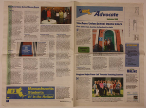 'AFT Mass Advocate' article about the opening of the BTU school