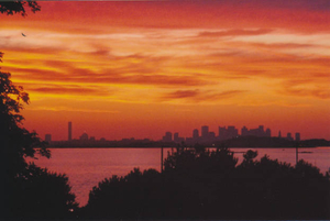 Sunset over Boston from Nut Island