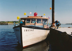 MV 'Irene,' our water taxi, decked out for a party