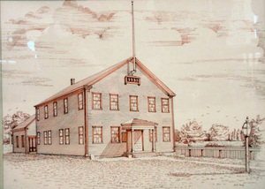 Artist rendition of the Town Hall in 1733 for the 250th anniversary of Halifax