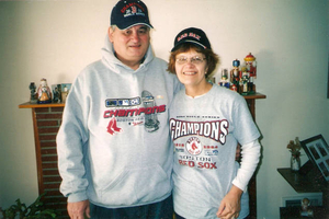 Ann and Joe Birkner celebrating Red Sox winning the World Series in 2004