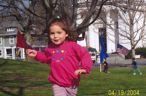 Alice, my daughter, on the Green, Patriots' Day morning