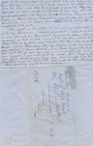 1856 letter to Roxbury High School student (back)