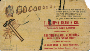 Advertisement/ink blotter for the T. Murphy Granite Co.