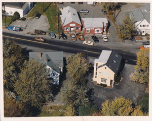 Aerial view children's building and Benson's coffee shop
