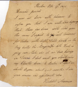 Letter From Hatsuld Freeman to his parents, October 27, 1812