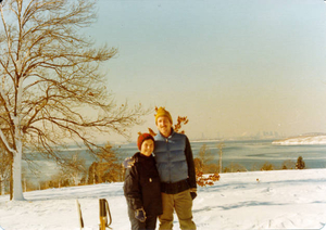 Bob and Kathy Curley cross-country skiing at World's End
