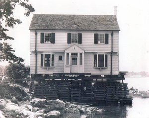 House moved from Gallops Island, Boston Harbor to Seal Cove, Hingham in 1948