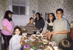 The annual gingerbread house decorating event at Auntie Mary's