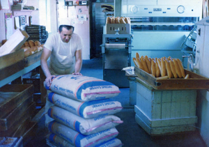 Baking bread inside the Sumner Bakery