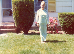 Alice McCarthy in front of her home on Dickens Street